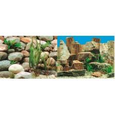 Фон для аквариума двухсторонний 40см Плоские камни -Камни с растениями