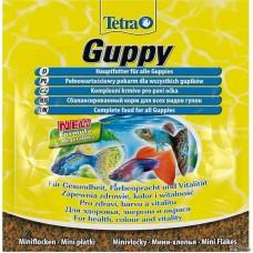 TetraGuppy 12г пакетик корм для гуппи, пецилий,меченосцев и.д.р живородящих,хлопья