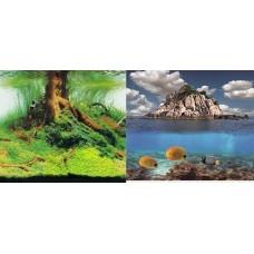 Фон для аквариума двухсторонний 50см Коряга и растения-море со скалой